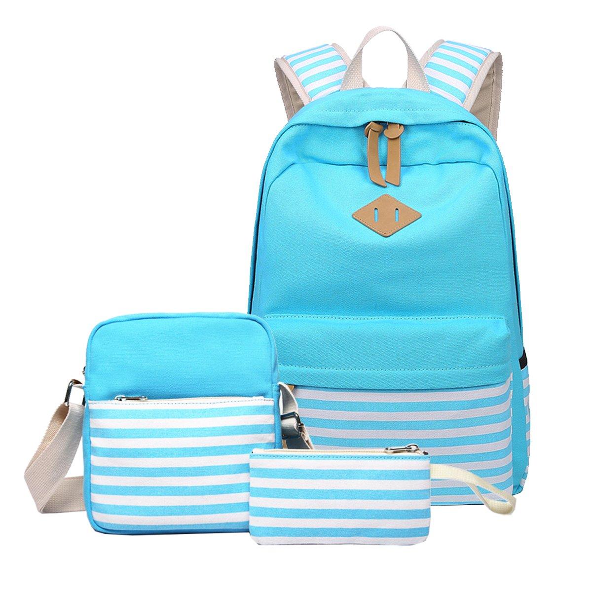 Canvas School Backpacks,Colorful Girls'3 Set Backpacks,Fashion Backpack Colorful shopping Bags Travel Pack for Backpack Laptop Shoulder Bag Pencil Case(LightBlue)Boens