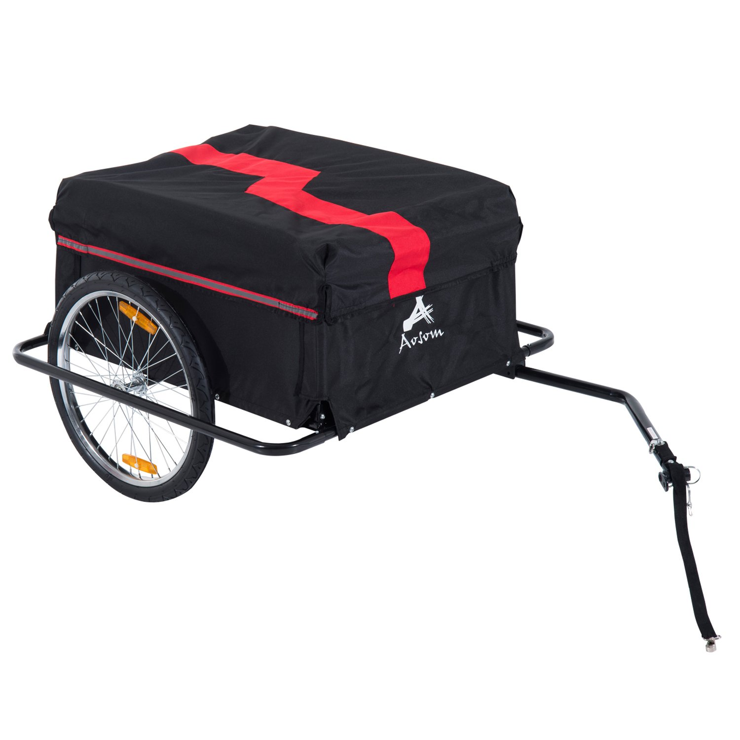 Associated product image for Aosom Bicycle Cargo Trailer Cart Carrier Garden Use w/Cover, Black/Red