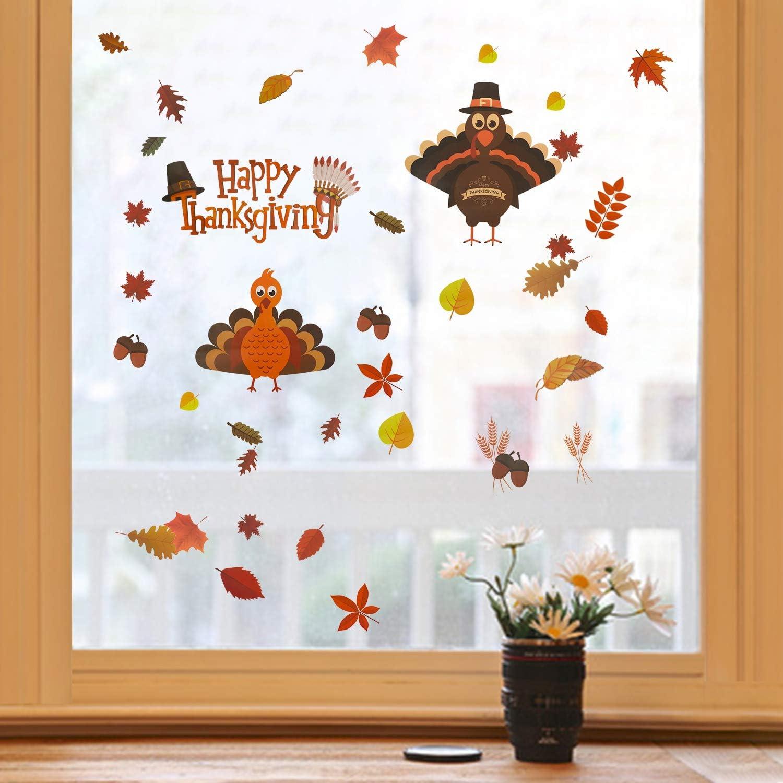 MorTime Thanksgiving Window Stickers, 12 PCS Turkey Pumpkin Maple Leaves  Acorns Fall Autumn Window Sticker Decor Harvest Day Thanksgiving Decorations