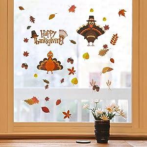 MorTime Thanksgiving Window Stickers, 230 PCS Turkey Pumpkin Maple Leaves Acorns Fall Autumn Window Sticker Decor Harvest Day Thanksgiving Decorations