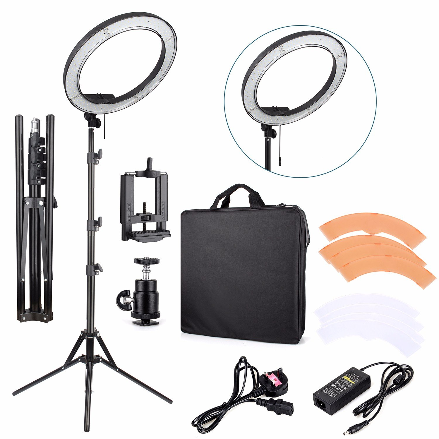 EACHSHOT ES240 Kit {Including Light, Stand, Phone Clamp, Tripod Head }240 LED 18'' Stepless Adjustable Ring Light Camera Photo/Video Portrait photography 5500K Dimmable (Light Stand Included)