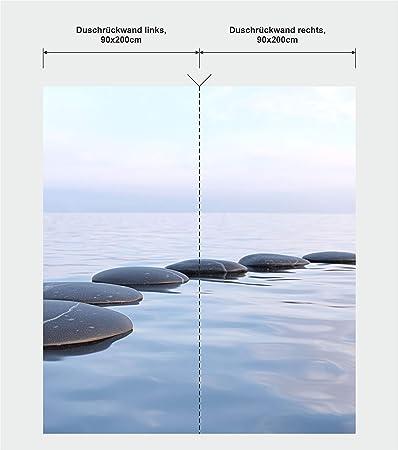 Mampara de ducha en esquina, 2 segmentos de 90 x 200 cm, diseño Feng_Shui_Wasser: Amazon.es: Bricolaje y herramientas