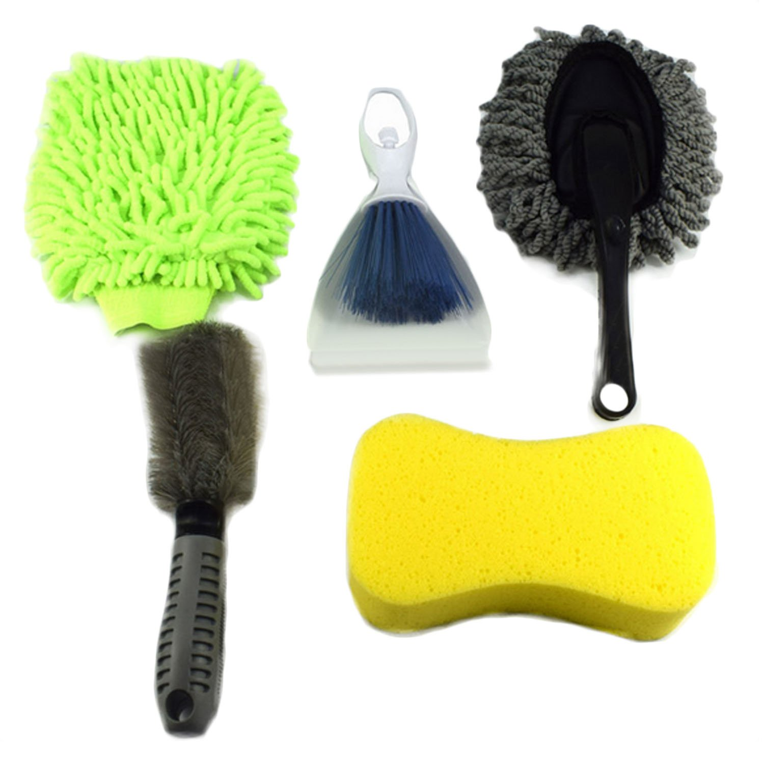Car Clean Brush, Elisoan [5 PCS] Complete Car Cleaning Washing Tools Kit Microfiber Car Wash Duster Brush Wheel Cleaning Brush Glove Sponge Elisona