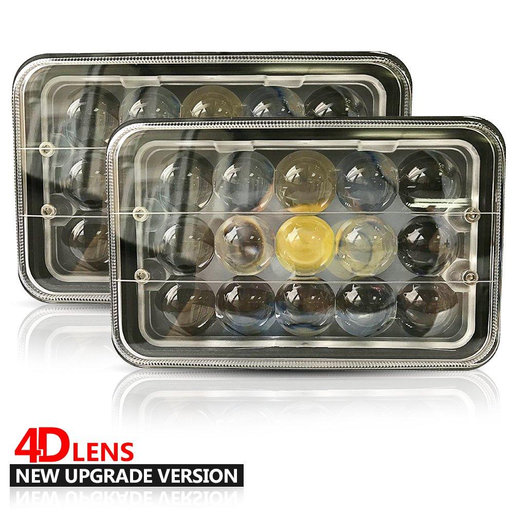 UNI 4X6 45W Sealed Beam Rectangular LED Headlights H4 Plug for H4651 Daymaker Wecade Halo Wiring Diagram on