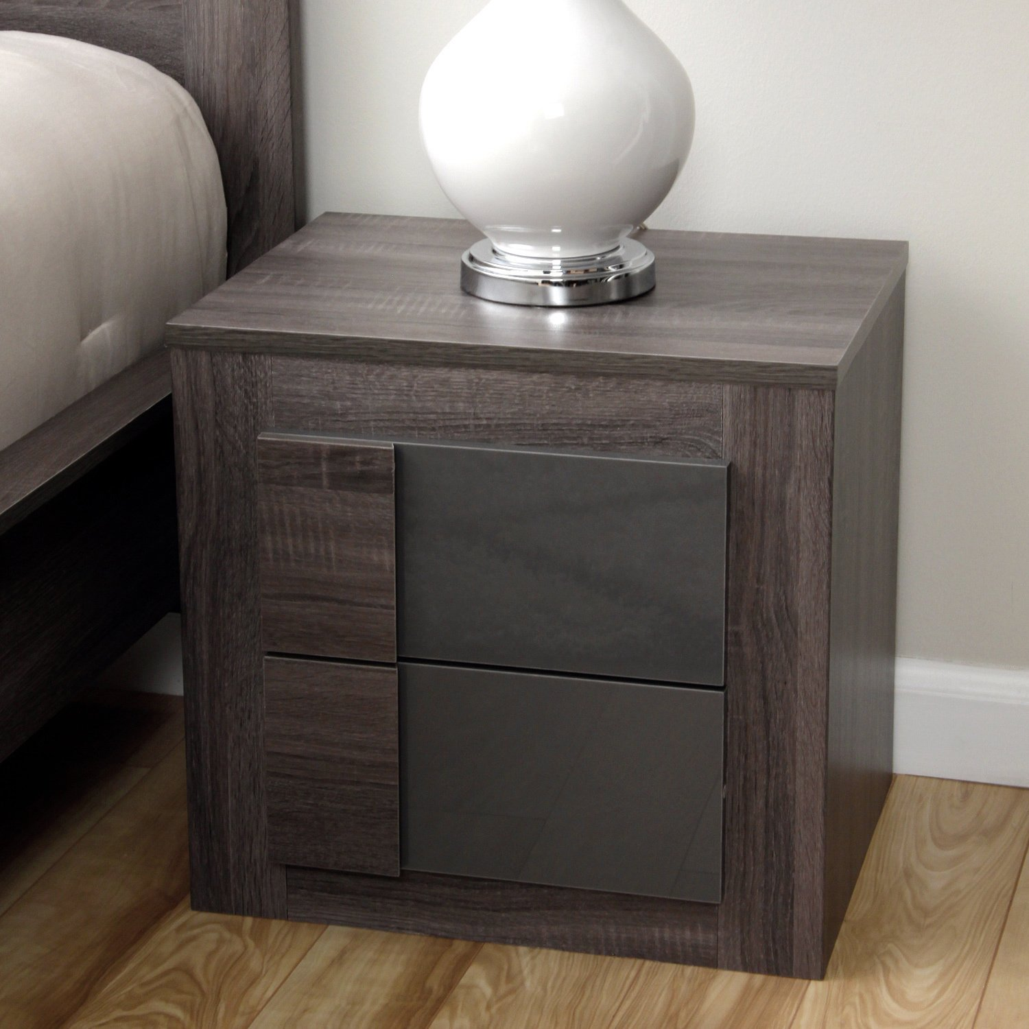 Amazon.com: Simple Living   Maya Night Stand Furniture With 2 Drawers  Featuring A Classic Dark Sonoma Oak With Uv High Gloss Grey (For Bedroom):  Kitchen U0026 ...