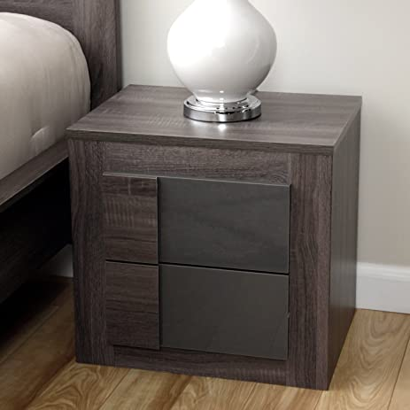 Simple Living   Maya Night Stand Furniture With 2 Drawers Featuring A  Classic Dark Sonoma Oak