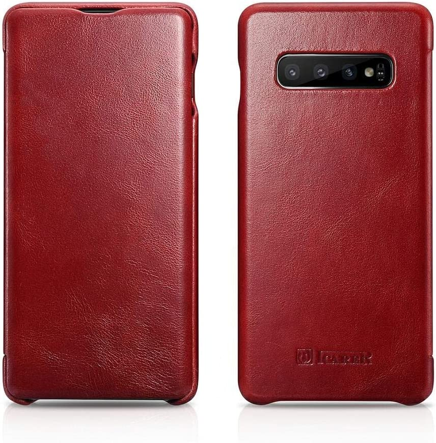 ICARER Galaxy S10 Case, Vintage Series Ultra Slim Genuine Leather Flip Folio Case Side Open Cover Curve Edge Protection for Samsung Galaxy S10 (Red)