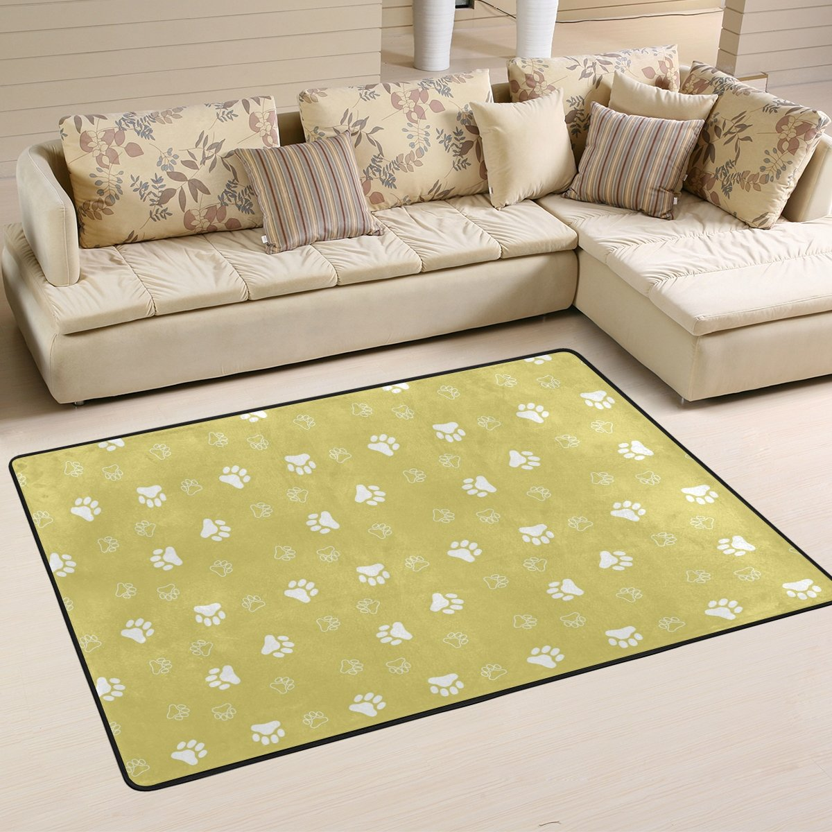 SAVSV 6' x 4' Area Rug Carpet Doormat Lightweight Printed Cute Dog Paw Print Easy to Clean For Living Room Bedroom