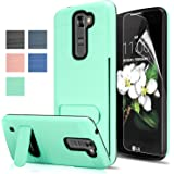 LG Tribute 5 / LG K7 / LG Treasure LTE Case With HD Screen Protector,AnoKe [Card Slots Holder][Not Wallet] Kickstand Hard Plastic PC TPU Soft Hybrid Shockproof Case For LG Tribute 5/K7 KC1 Mint New