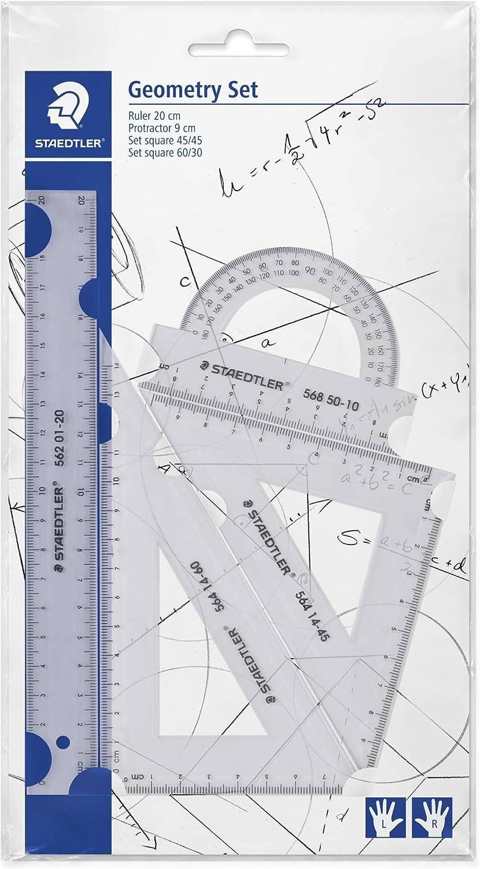 Staedtler Mars 569 PB4-0. Set de reglas y transportador para dibujo técnico. Conjunto con 4 piezas de plástico transparente.