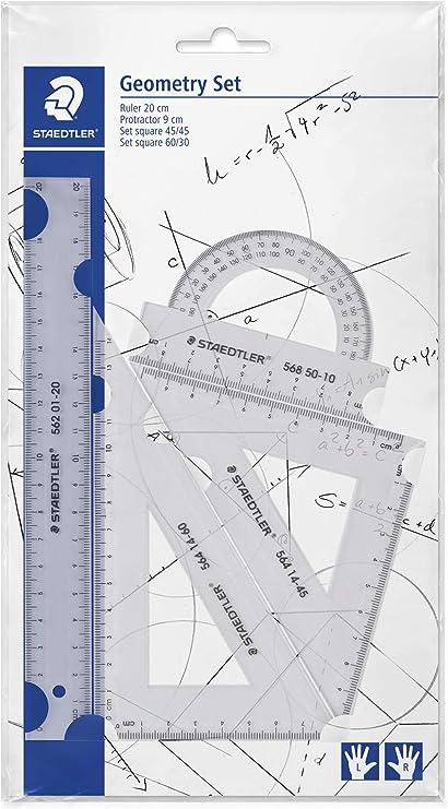 STAEDTLER Mars 569 PB4-0 Set de reglas y transportador para dibujo técnico: Amazon.es: Oficina y papelería