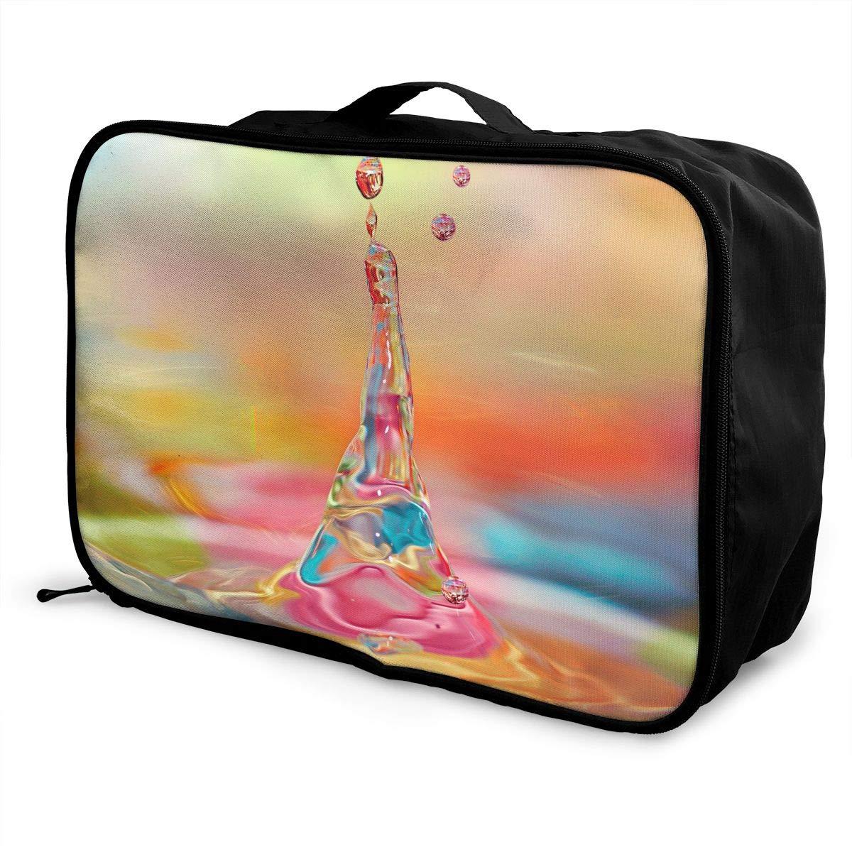 Travel Luggage Duffle Bag Lightweight Portable Handbag Colorful Water Drop Large Capacity Waterproof Foldable Storage Tote