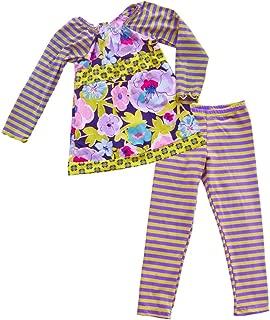 product image for Cheeky Banana Big Girls Tunic Top & Leggings Set - Lavender & Blue Stripes