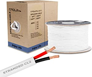 50FT 16AWG Speaker Wire Cable with 2 Conductor Speaker Cable (CCA) Copper Clad Aluminum CL2 Rated In-Wall Speaker Wire for Home Theater & Car Audio - 50 Feet, White