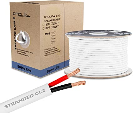 8FT 8AWG Speaker Wire Cable with 8 Conductor Speaker Cable (CCA) Copper  Clad Aluminum CL8 Rated In-Wall Speaker Wire for Home Theater & Car Audio -