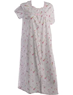 Slenderella Ladies 100% Cotton Floral Nightdress Sleeveless Lace Trim  Nightie (Blue or Pink) 02fec9339
