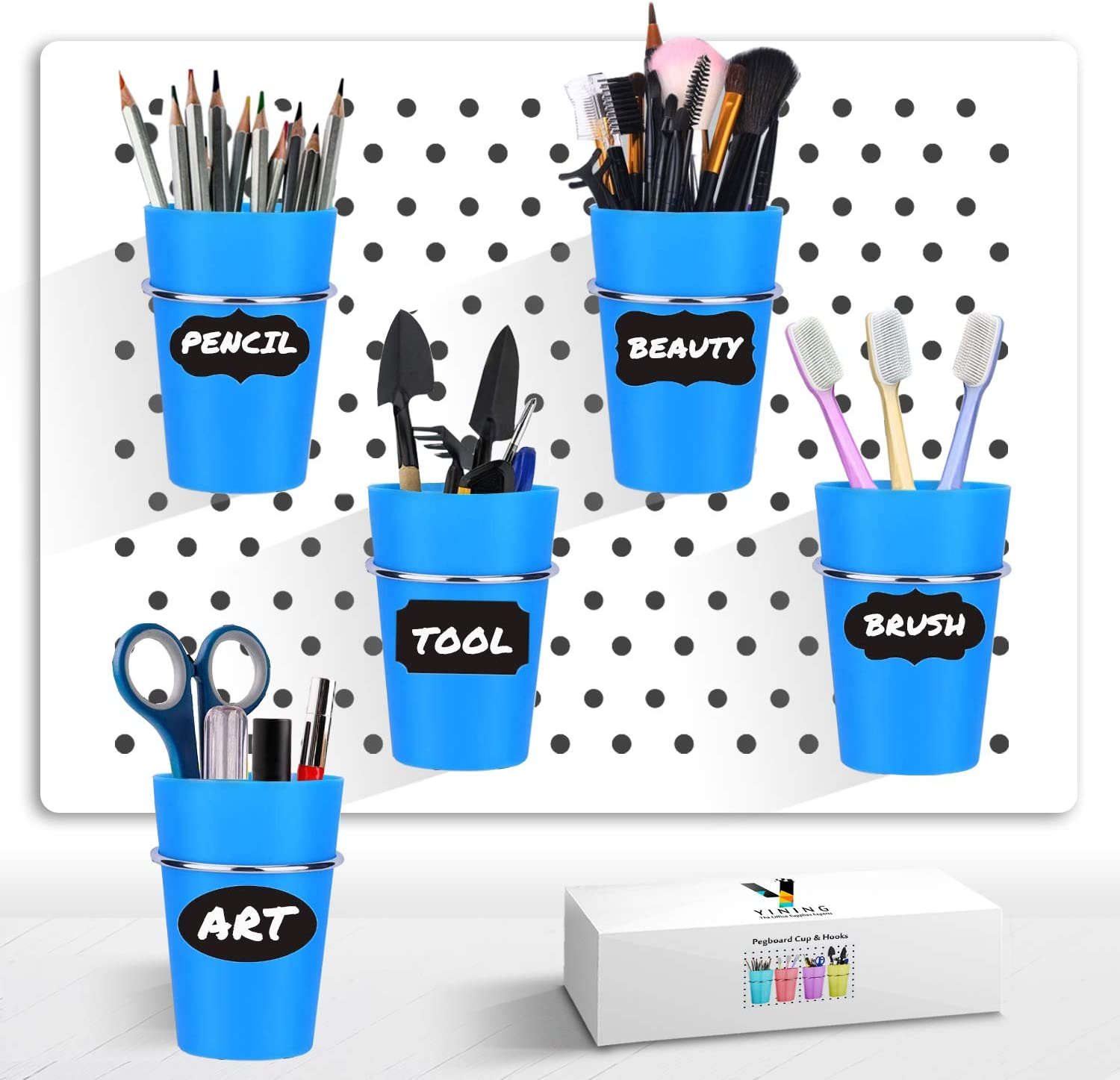 Pegboard Cup with Hooks, 5 Set Pegboard Bins Kit Storage Organizer Holder Accessories for Pegboard, Crafts, Garden, Washroom, Workshop, office desk - Middle Size (Blue)