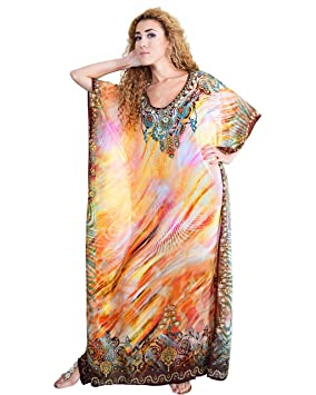 Bayside Barcelona Marrón Vestido de Baño de Traje de Baño de Verano Kimono Largo Kaftan de