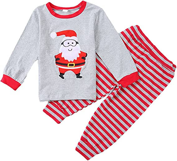 Toddler Baby Clothing Set Comfy Santa Claus Christmas T-Shirt Top+Pants Set Sleepwear Outfit