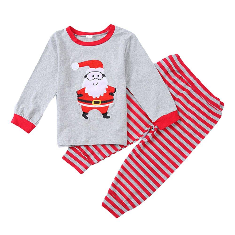 Bambini Pigiama di Natale - Ragazzi Ragazze Cotone a Maniche Lunghe Autunno Inverno Indumenti da Notte 2 Pezzi Set per 2-7 Anni M171026SDJJ2-ka