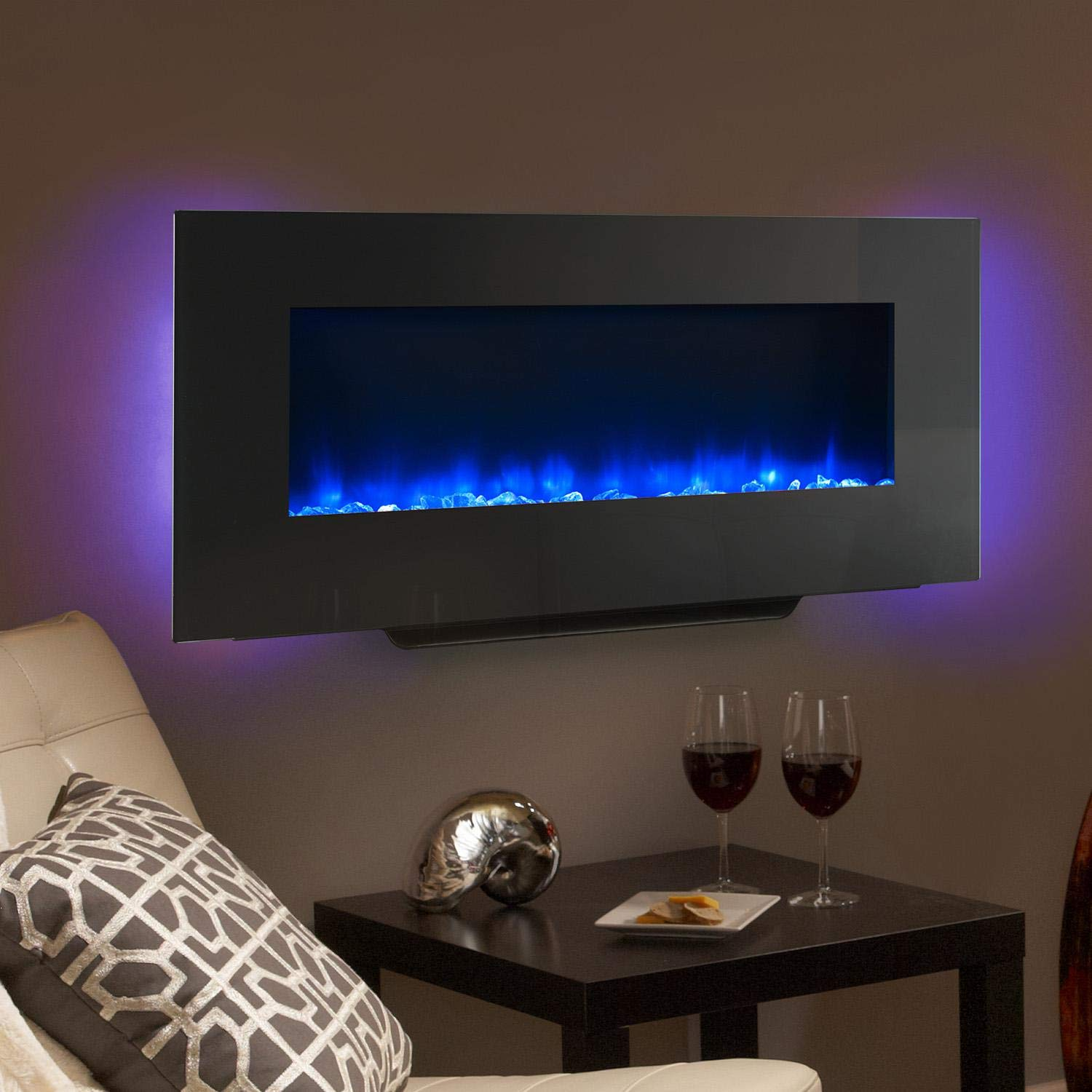 SimpliFire 38-Inch Linear Wall Mount Electric Fireplace – SF-WMS38-BK
