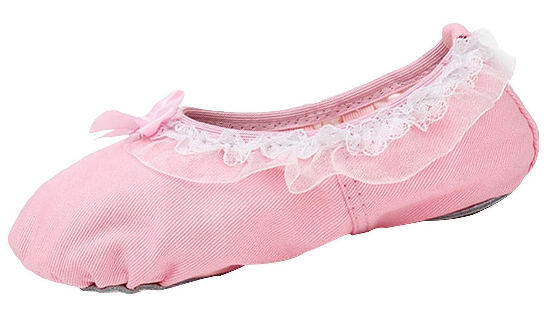 d39bef91b4d La Vogue Fille Ballet Chaussure Enfant Chausson Toile Danse Classique Rose  EU 24-35