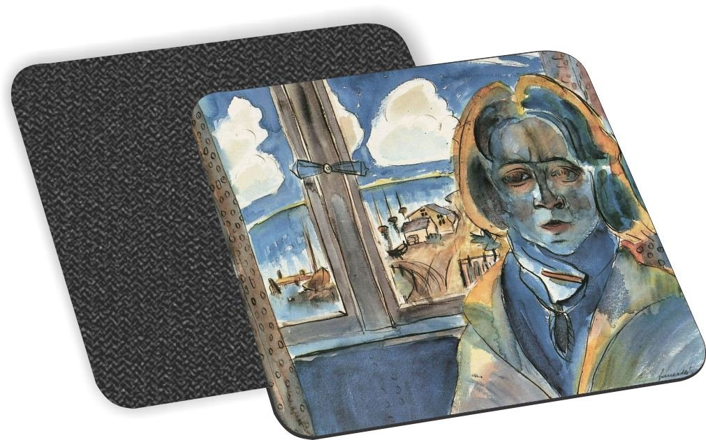 Rikki Knight Walter Gramatte Art Girl at the Window Design-Soft Square Beer Coasters (Set of 2), Multicolor