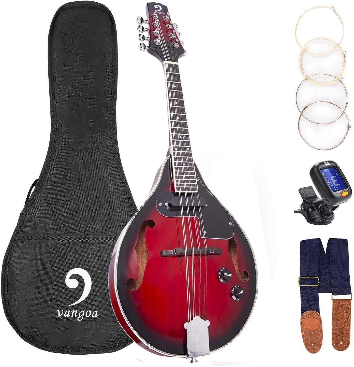 Mandolin A Style Acoustic Electric Mandolins Instrument Vintage Red Sunburst Mahogany Wood for Beginner Adults
