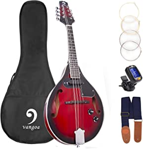 Mandolin A Style Acoustic Electric Mandolins Instrument Vintage Red Sunburst Mahogany Wood for Beginner Adults, by Vangoa
