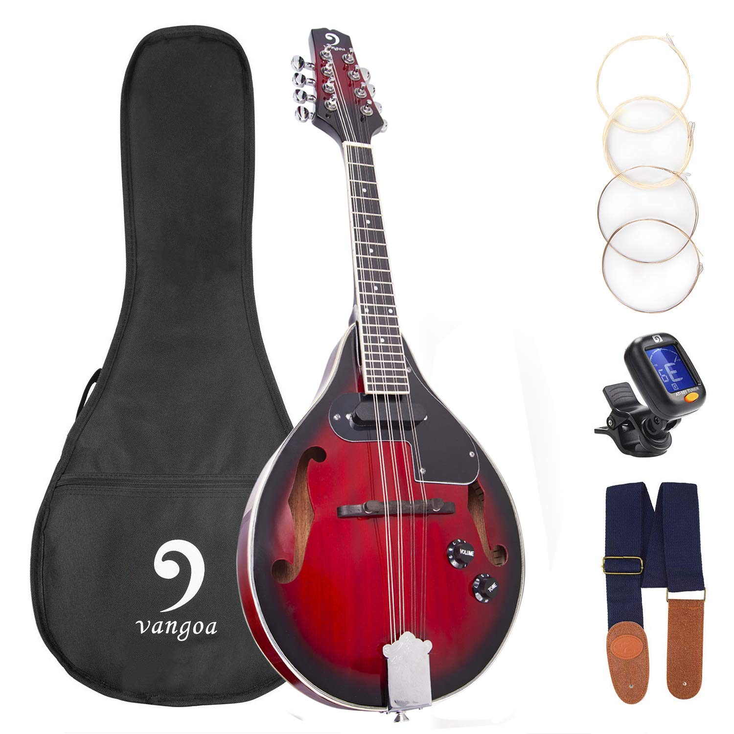 Mandolin A Style Acoustic Electric Mandolins Instrument Vintage Red Sunburst Mahogany Wood for Beginner Adults, by Vangoa (New version)