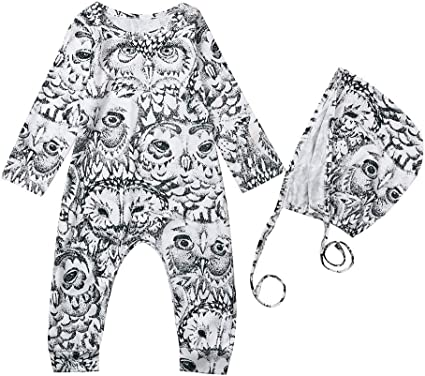 Hat Outfits Clothes Set Newborn Infant Baby Boys Girls Cartoon Romper Jumpsuit