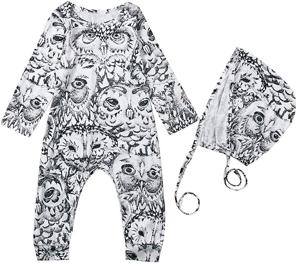 Homstar Infant Baby Boy Girl Romper Bodysuit Clothes Outfits Toddler Newborn Kids Cartoon Owl Romper Jumpsuit Hat 2Pcs Onesies Costume Cotton Sleepsuit Pyjamas Warm-Up Coveralls Casual Playsuit