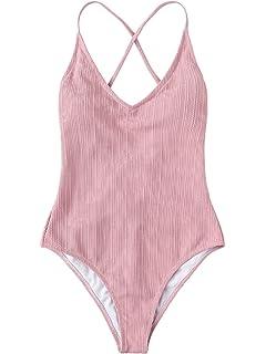 d6af25510b SOLY HUX Women Sexy Push up Bikini One Piece Lace up Back Monokini Swimsuit