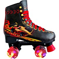 LIKU Quad Roller Skates for Girl and Women with All Wheel Light Up,Indoor/Outdoor Lace-Up Fun Illuminating Roller Skate…