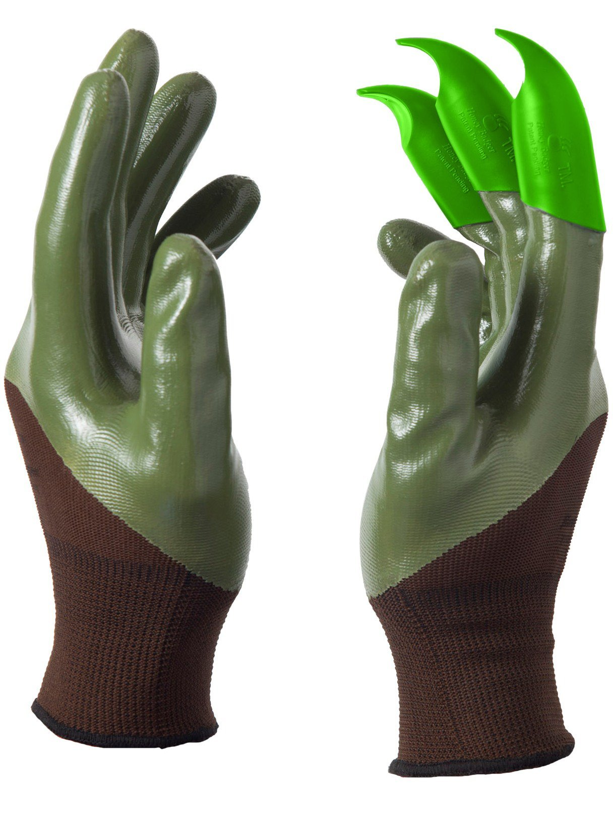 Honey Badger Garden Gloves for Digging & Planting - No More Worn Out Fingertips - Claws on RIGHT Hand - Womens & Mens Unisex - PATENT PENDING