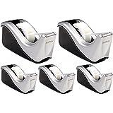 Scotch Desktop Tape Dispenser Silvertech, Two-Tone (C60-St), Black/Silver, 5 Pack