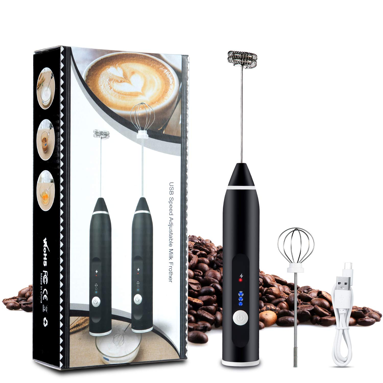 Kitdine USB Rechargeable Milk Frother Handheld Electric Foam Maker with 2 Stainless whisks, 3-Speed Adjustable Mini Blender Perfect for Egg Mix, Latte Coffee Cappuccino, Hot Chocolate Matcha