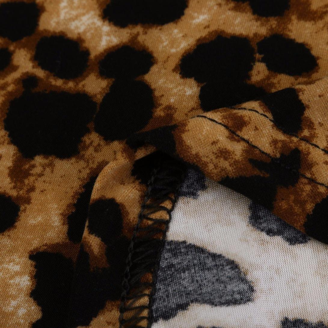Neu Mode Winter Fr/ühling Casual Langarm Zur/ück Spitzen Tunika Tops Oberseite Hevoiok Damen Warm Leopard Pullover Bluse