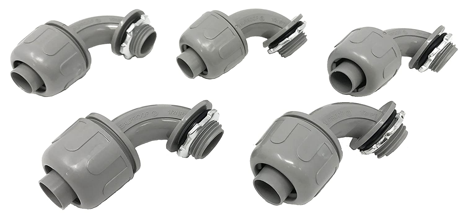 """Sealproof 1/2-Inch Nonmetallic Liquid-Tight 90-Degree Electrical Conduit Connector Fitting, 1/2"""" Dia, 5-Pack"""
