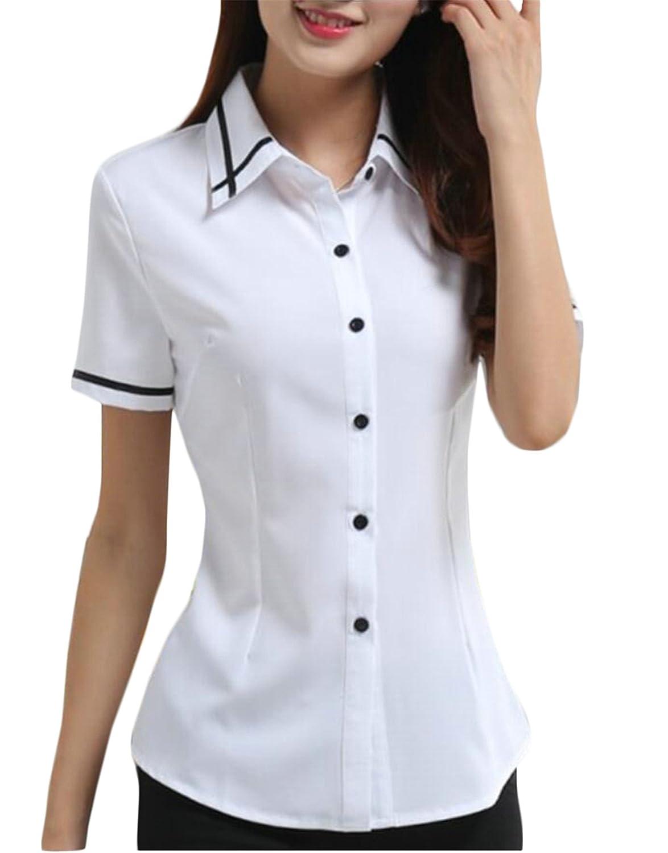 mydeshopWomen mydeshop Womens Slim Fit Turn-Down Stylish Button Up Shirts  Short Sleeve Dress Shirt at Amazon Women s Clothing store  b8d940949