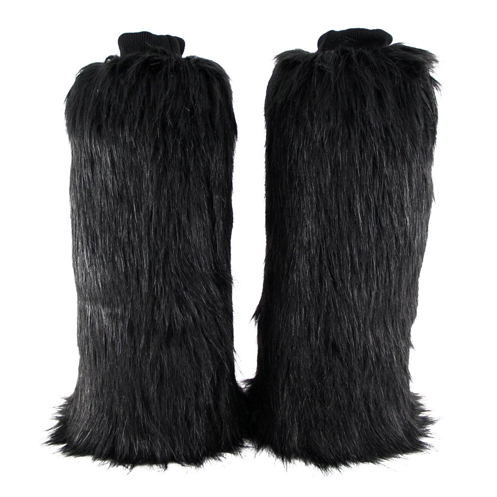 ECOSCO One Pair Women Faux Wolf Fur FUZZY Boots Shoes Cuffs Leg Warmers Covers