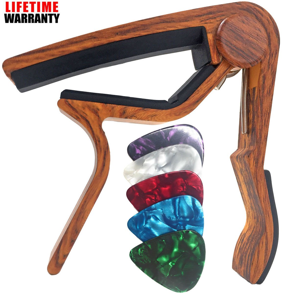 WINGO Guitar Capo for Acoustic Guitar, Electric Guitar,Bass,Ukulele- Rosewood with 5 Picks