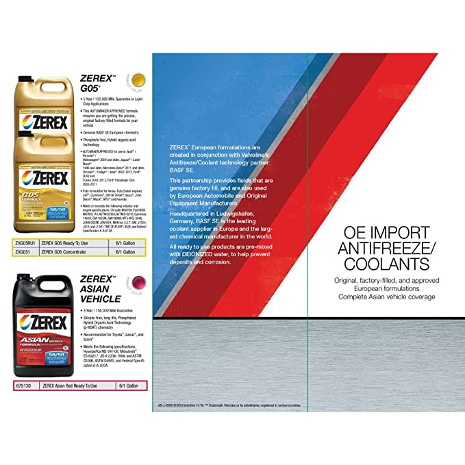Valvoline Zerex G-05 Antifreeze/Coolant, Concentrated - 1gal (ZXG051)