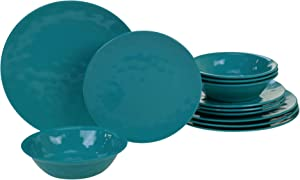 Certified International Melamine 12 pc Dinnerware Set, Service for 4, Teal