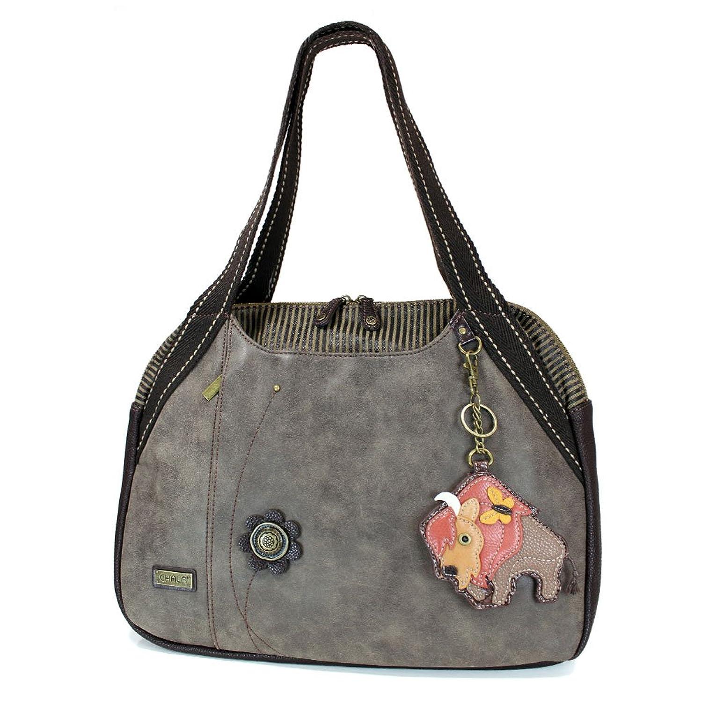 Chala Handbags Stone Gray large Tote Bag with Doggie Key fob