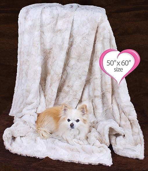 "Peluche Plush Luxury Bunny Cuddle Dog/Pet Blanket (50"" x 60"" Throw"