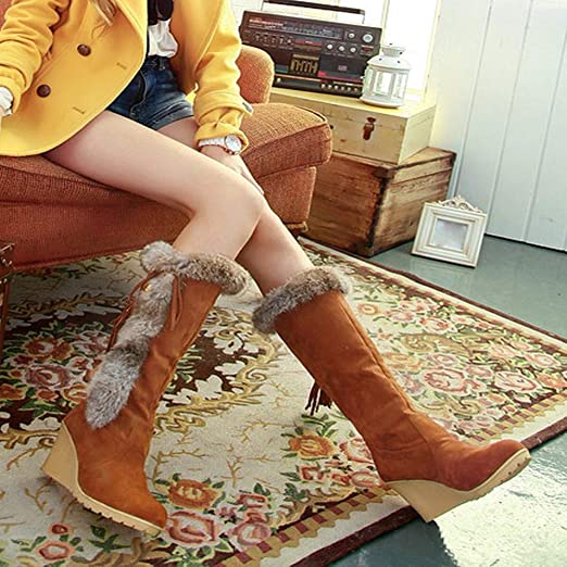Viernes Negro JiaMeng Leisure Tassel Increase Shoes Round-Toe Keep Warm Long Tube Snow Boots Botas Mujeres Invierno Zapato Plano Redondo: Amazon.es: Ropa y ...
