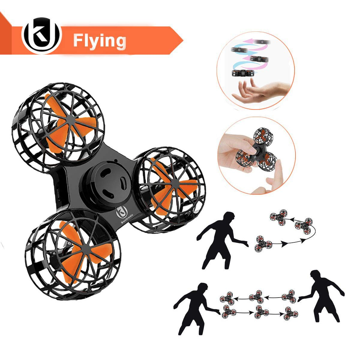 Bonitronic Flying Ball Toys, Flying Fidget Spinner USB Rechargeable, Interactive Mini Drone Indoor Outdoor, Flying Toys for Boys Girls, Kids Adults by Bonitronic