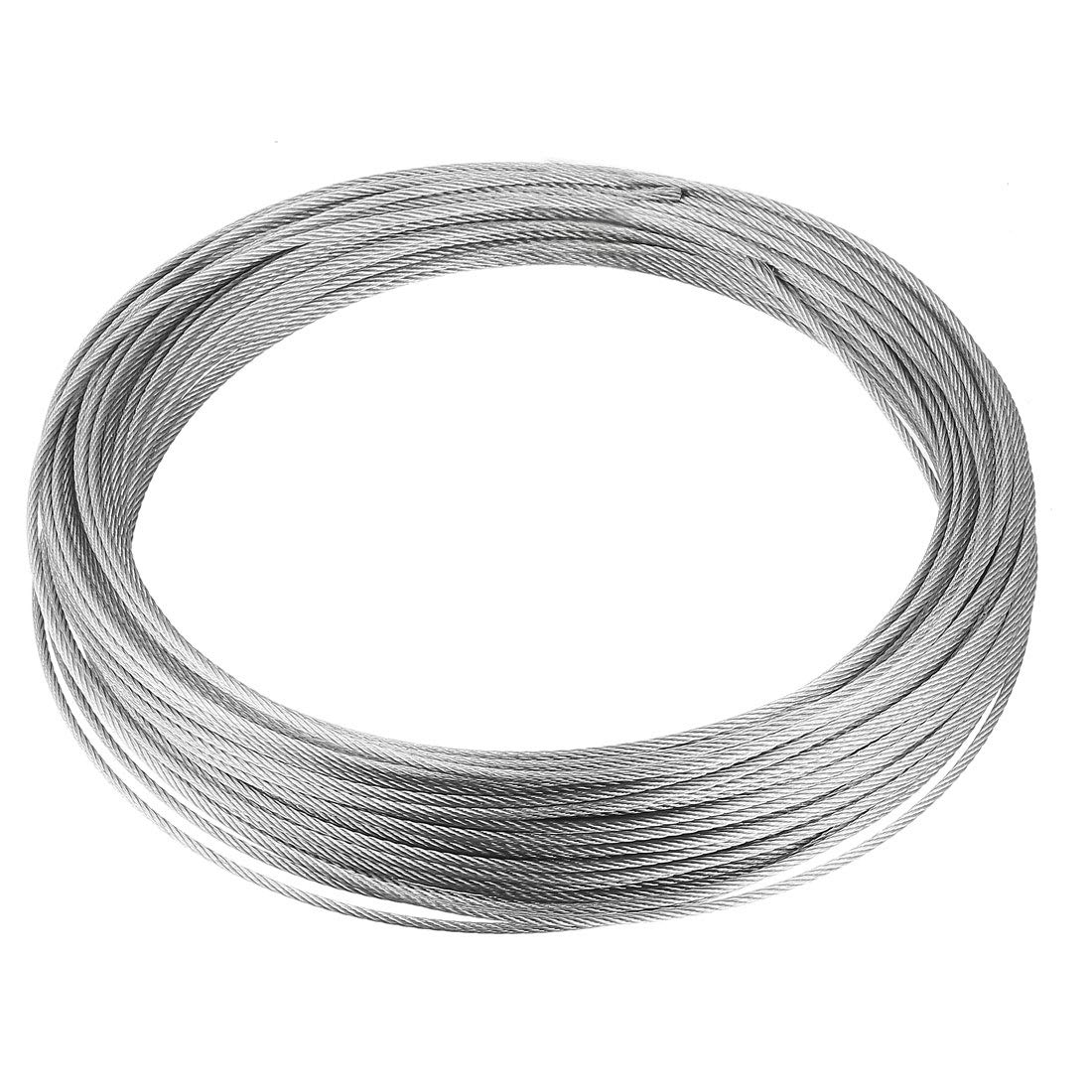 uxcell Stainless Steel Wire Rope Cable 2mm 0.08 inch Dia 24.6ft 7.5m Length 14 Gauge 304 Grade for Hoist Lifting Grinder Pulley Wheel