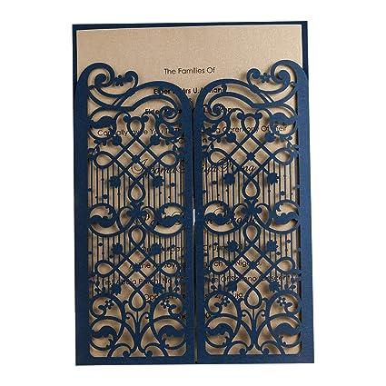 amazon com 50x wishmade navy blue elegant laser cut gate fold